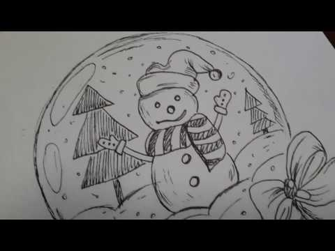 видео: Новогодние рисунки   3 идеи для оформления скетчбука