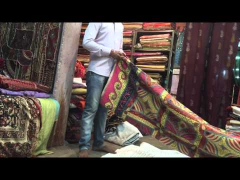 Fabric shopping in Indian export shops