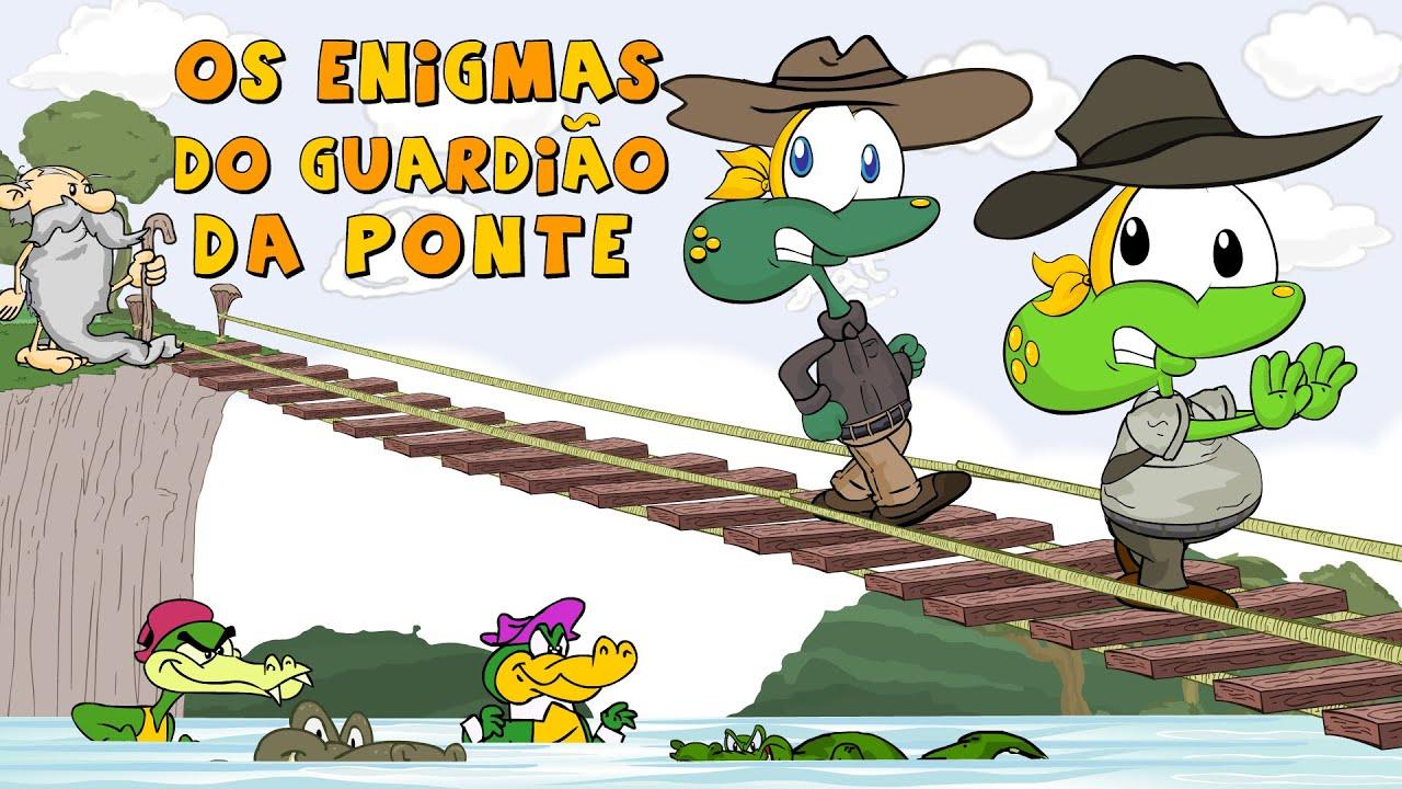 Sapo Brothers e os Enigmas do Guardião da Ponte tipo Indiana Jones em Desenho Animado