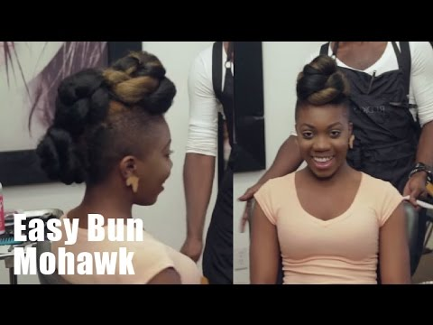 Easy Bun Mohawk On Natural Hair