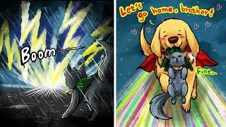Funny Thorki Comics: Dog Thor Cat Loki