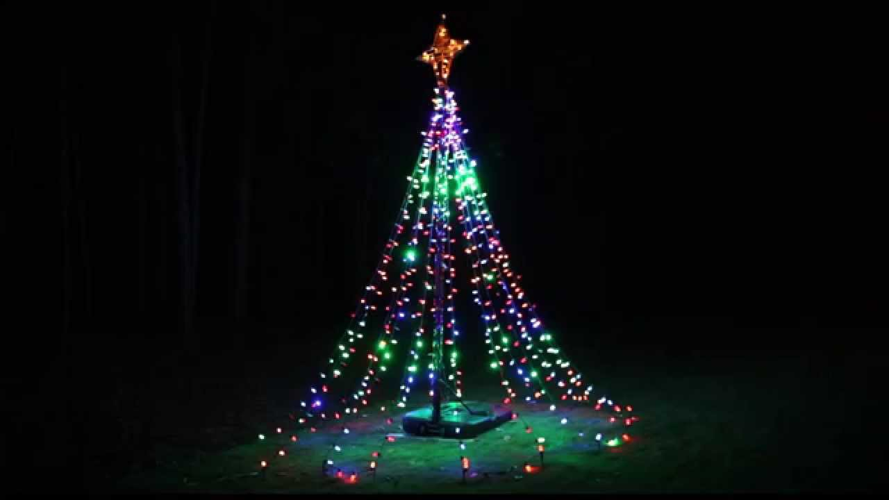 twinkling tree of lights diy from basketball hoop youtube. Black Bedroom Furniture Sets. Home Design Ideas