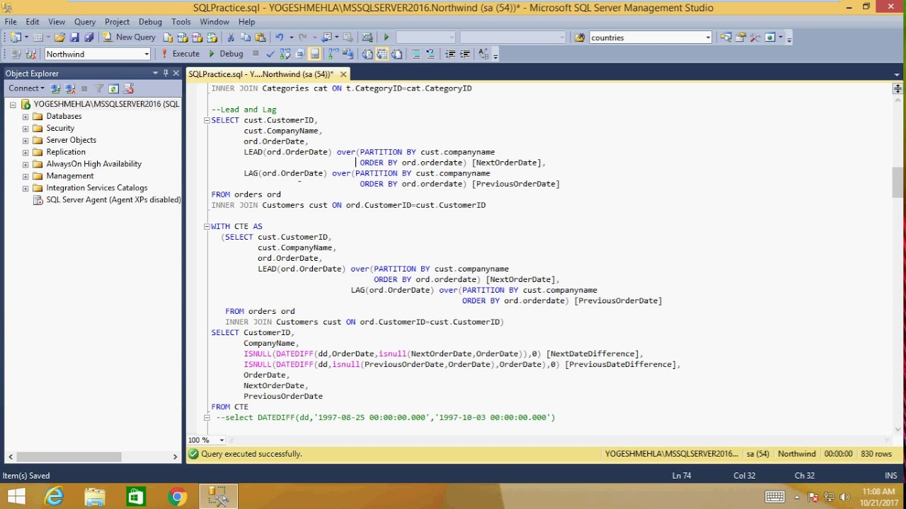 SQL Complex Queries , Query Optimization and Interview Questions SQLServer  2016