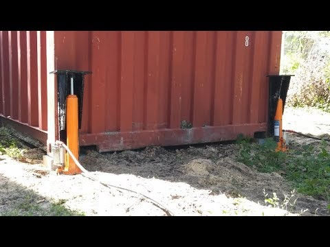 Compressed Air and Homemade Toe Jacks lift Heavy Shipping Container