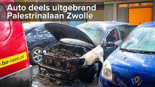 Auto deels uitgebrand Palestrinalaan Zwolle - ©StefanVerkerk.nl