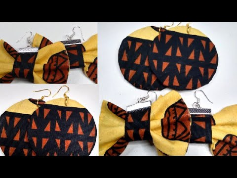 DIY quick and easy bow and round shapes earrings with Ankara