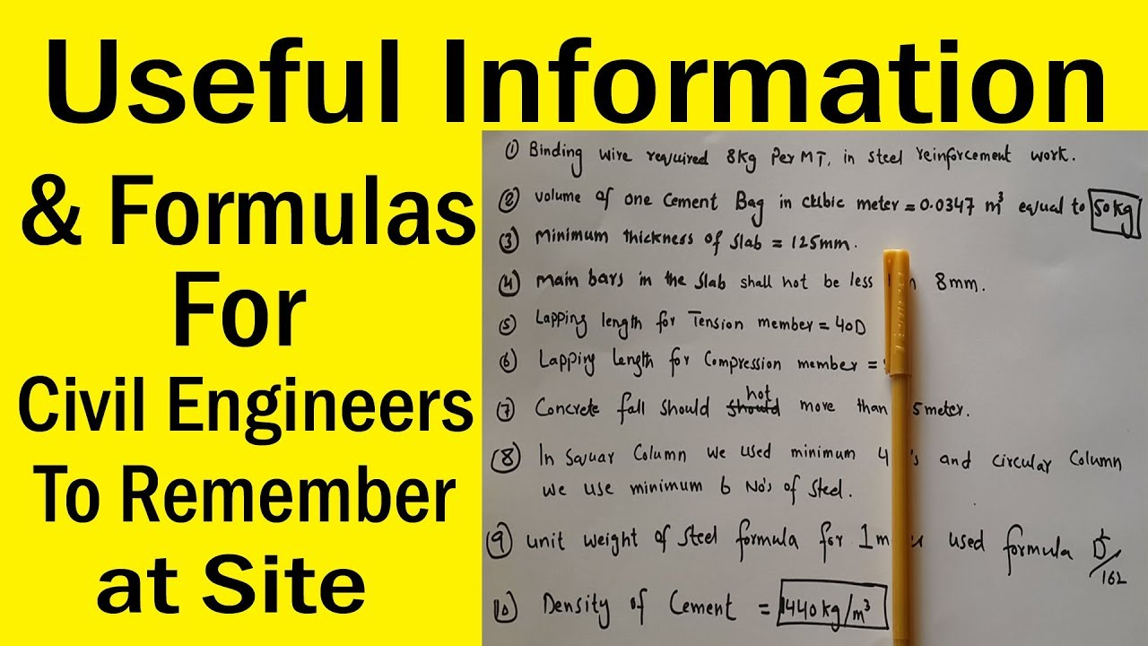 information  formulas  civil engineers  remember  site youtube