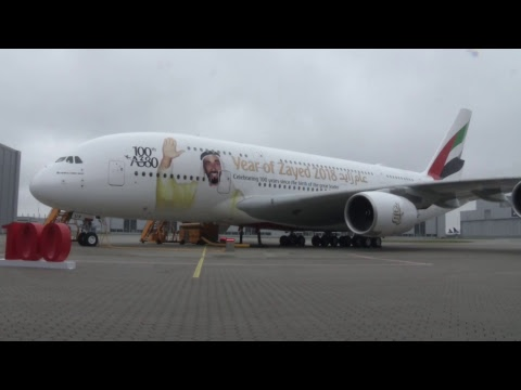Watch the delivery ceremony of Emirates' 100th Airbus A380