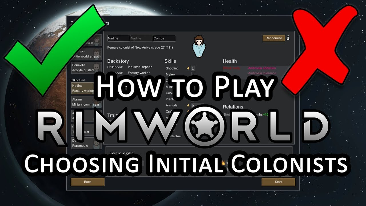 The 4 Things to Look for When Picking Colonists - Rimworld Beginner's Tips  and Getting Started Guide