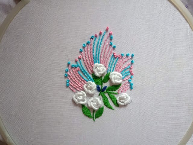 Hand embroidery.Brazilian embroidery design for dresses.