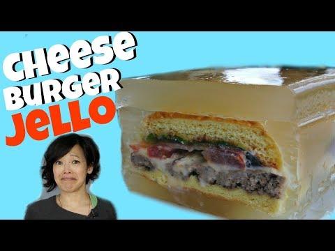 CHEESEBURGER JELLO ASPIC - hamburgers entombed in savory gelatin