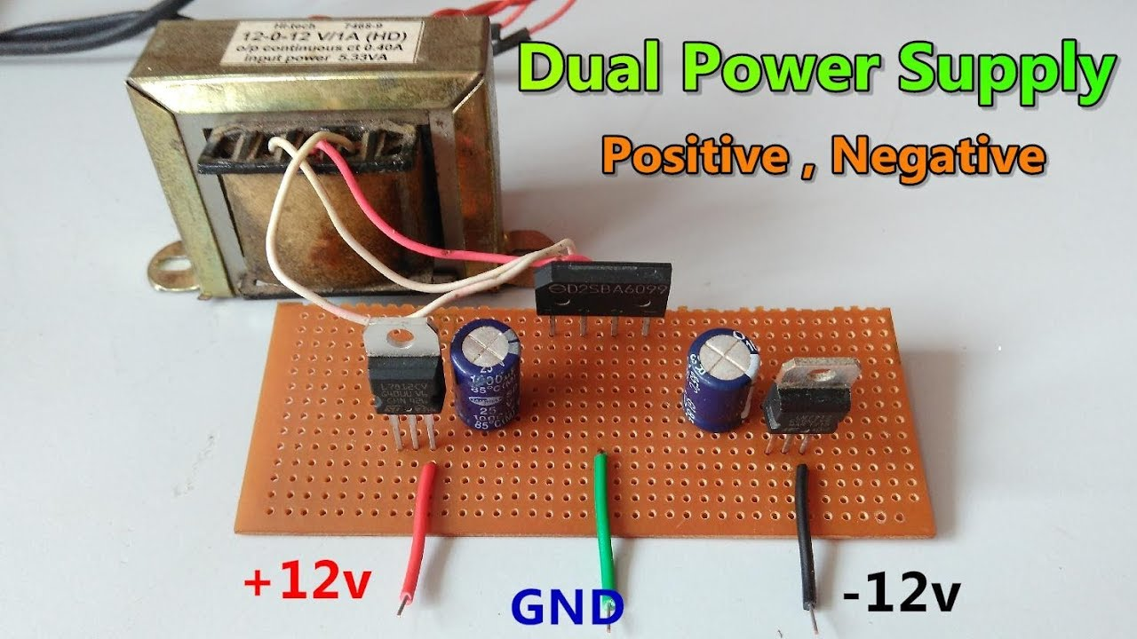 Dc 12v Gnd Dual Power Supply Using Center Tapped Circuitled Circuit10w Circuit Transformer