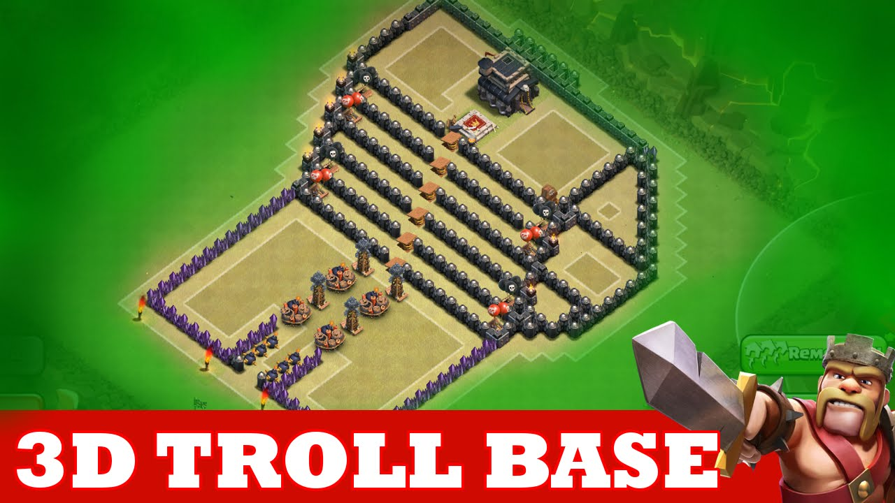 Clash of clans incredible 3d troll base a must watch quot the kings