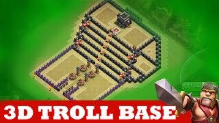 Clash Of Clans | INCREDIBLE 3D TROLL BASE! A MUST WATCH! |