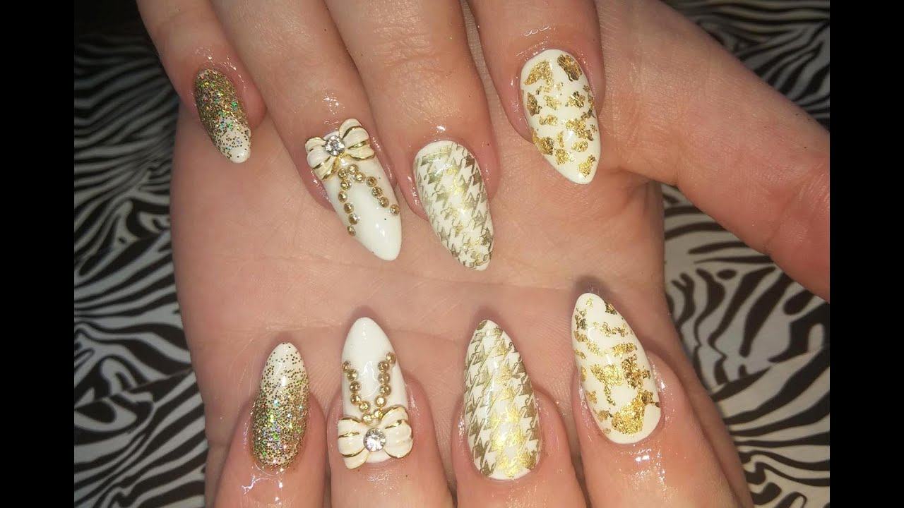 Acrylic nails l white gold l nail design youtube prinsesfo Choice Image