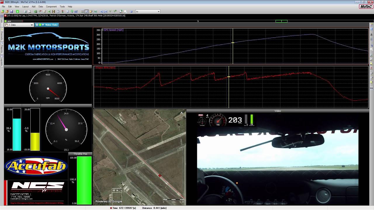 M2K 300mph MoTec Data Video