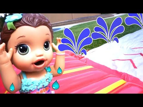 BABY ALIVE Summer Fun Movie, Swimming Pool, Water Slide, Water Balloons And Mermaids!