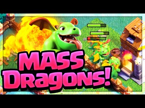 Dragons by the DOZEN! Mass Baby Dragon Attacks in Clash of Clans Builder Hall!