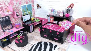 DIY Miniature Captain's Bed (Day Bed) with Drawer & Bookcase for LOL, LPS, or small dolls