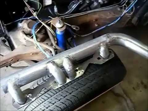 350 Exhaust Header, home made using steel tubing