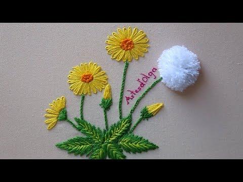 Hand Embroidery: Dandelion Flowers   Bordado A Mano: Flores De Diente De León   Artesd'Olga