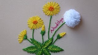 Hand Embroidery: Dandelion Flowers | Bordado a mano: Flores de diente de león | Artesd'Olga