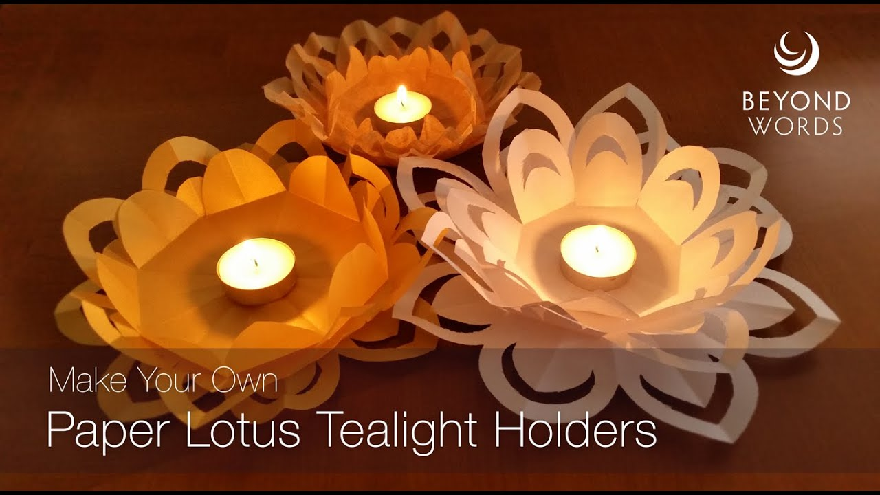How to make a paper lotus tealight holder - YouTube - photo#25