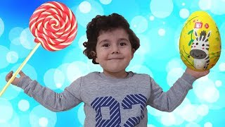Yusuf pretend play with Magic Candy | Learn colors with Surprise Eggs