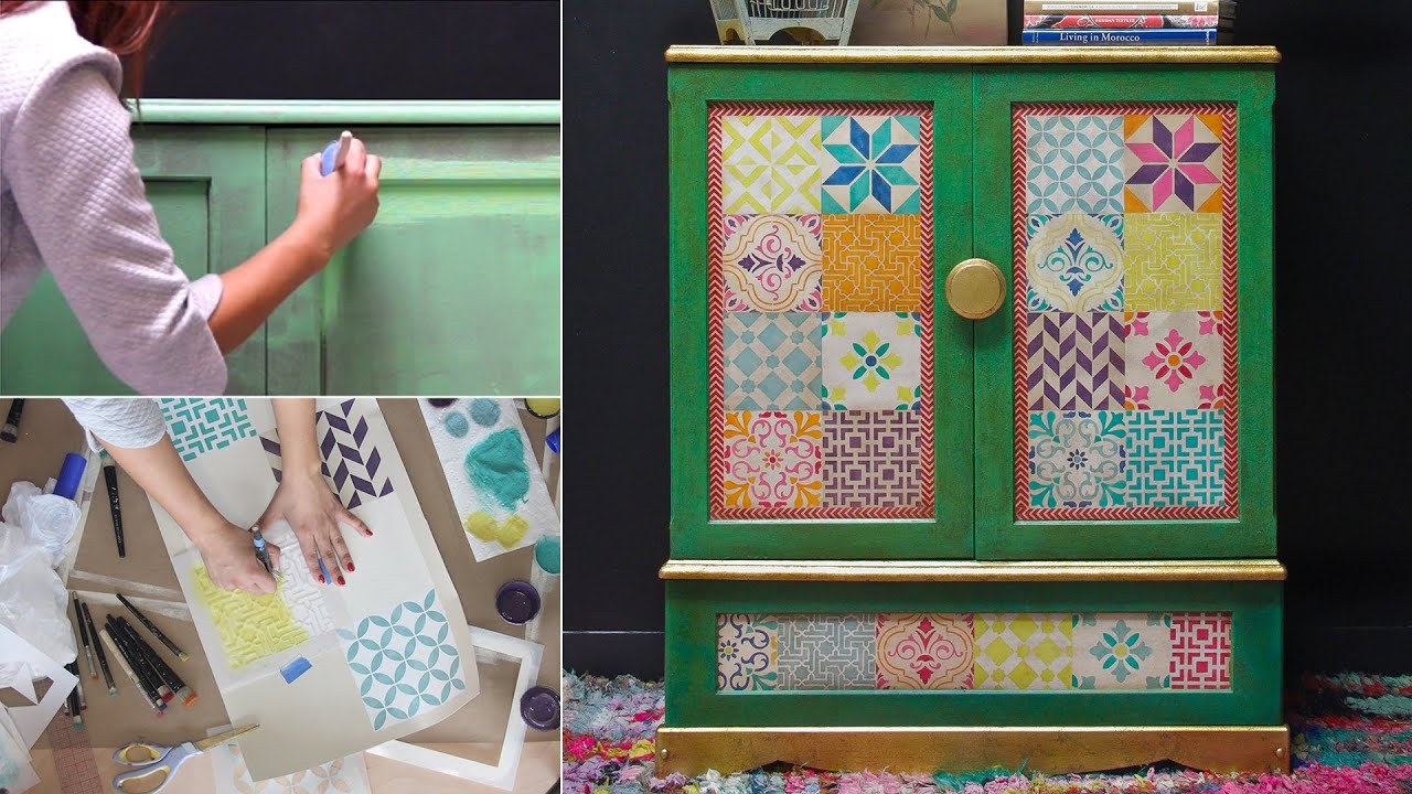 How To Stencil Furniture With Chalk Paint Boho Style Tiles Youtube