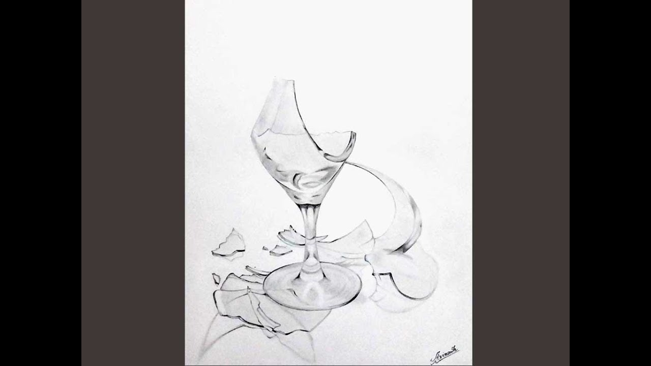 Broken Wine Glass Painting by Tina Foote   Broken Wine Glass Painting