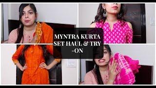 Myntra Kurta Set Haul   Under Rs.1000   Try-On Haul