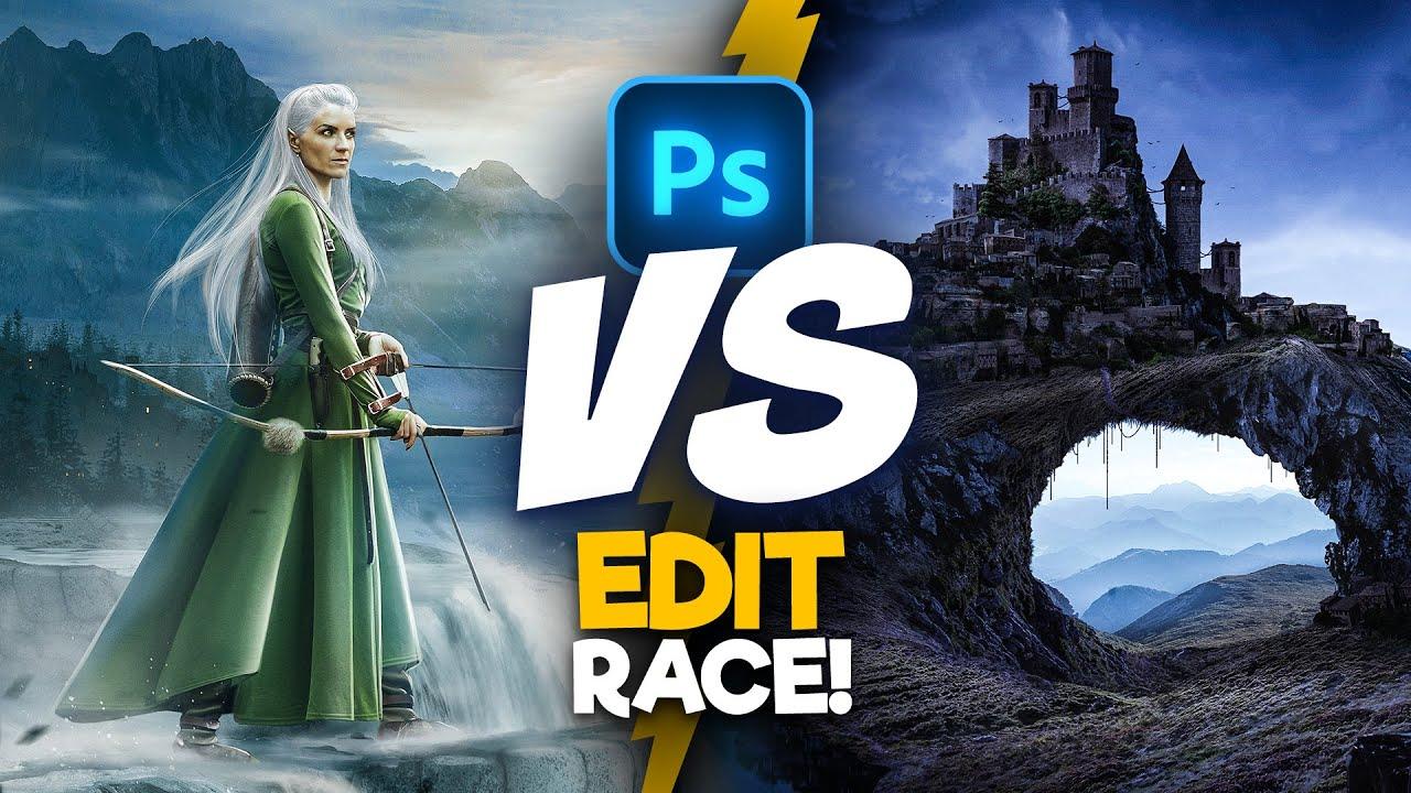 2 Digital Artists Use the SAME Images! (photoshop) | Edit Race S2E3
