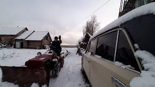 жизнь в деревне | эксперимент сможем ли построить гараж из заброшенного дома | стройка 2 часть