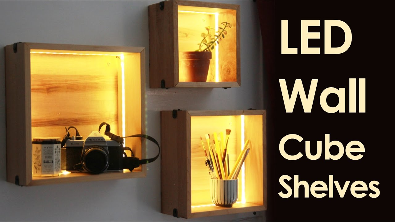 LED Wall Cube Shelves   YouTube