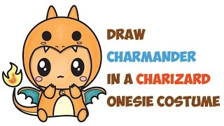 How to Draw Cute Charmander Wearing Charizard Onesie Costume with Hood Easy Step by Step Drawing