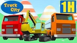 Trucks, excavators, tow trucks & trains in Truck city | Construction game cartoon for kids