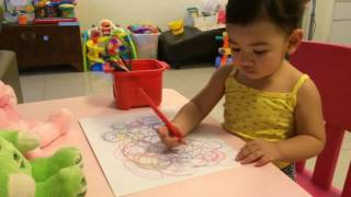 One and half year old girl drawing   Sophia