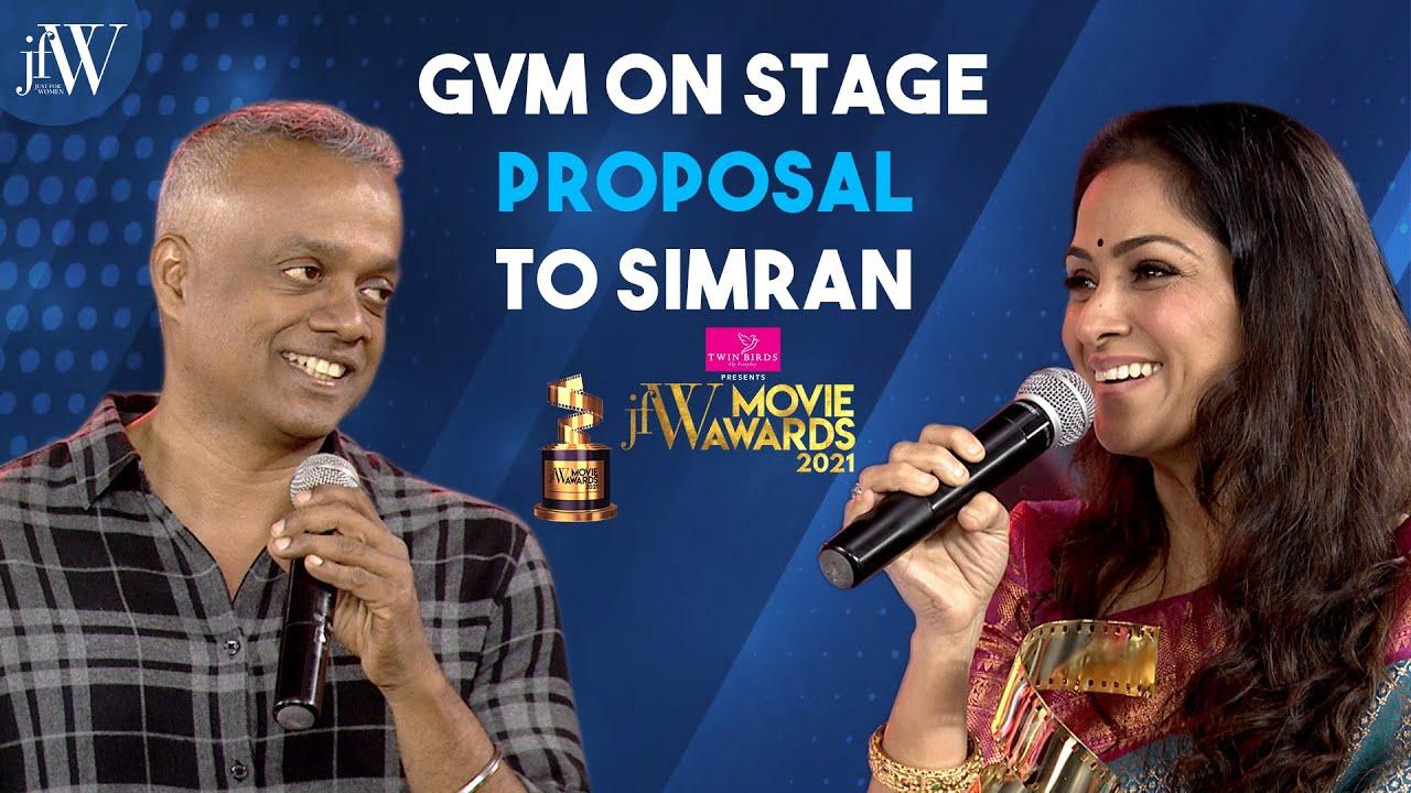 Gautham Menon on stage proposal to Simran   JFW Movie Awards 2021  GVM