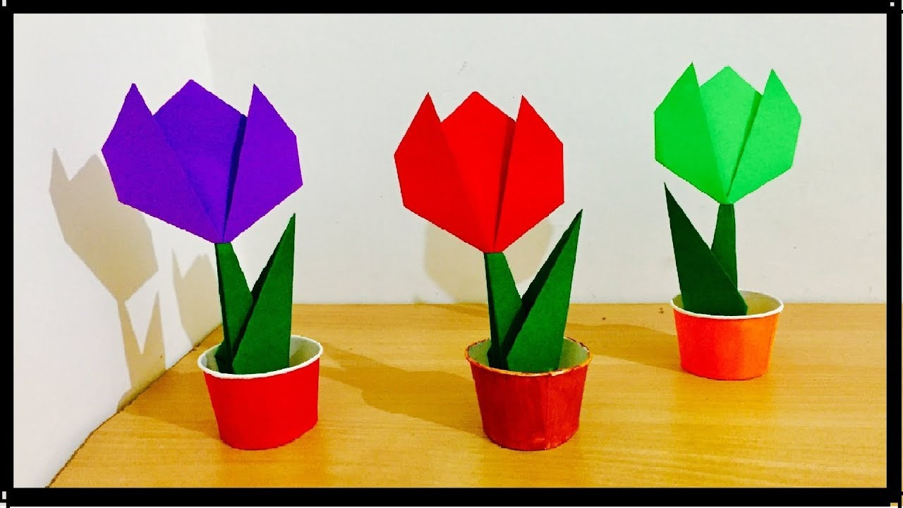 How to make origami paper tulip flowers flower bouquet for home how to make origami paper tulip flowers flower bouquet for home decoration easy kids craft izmirmasajfo Gallery