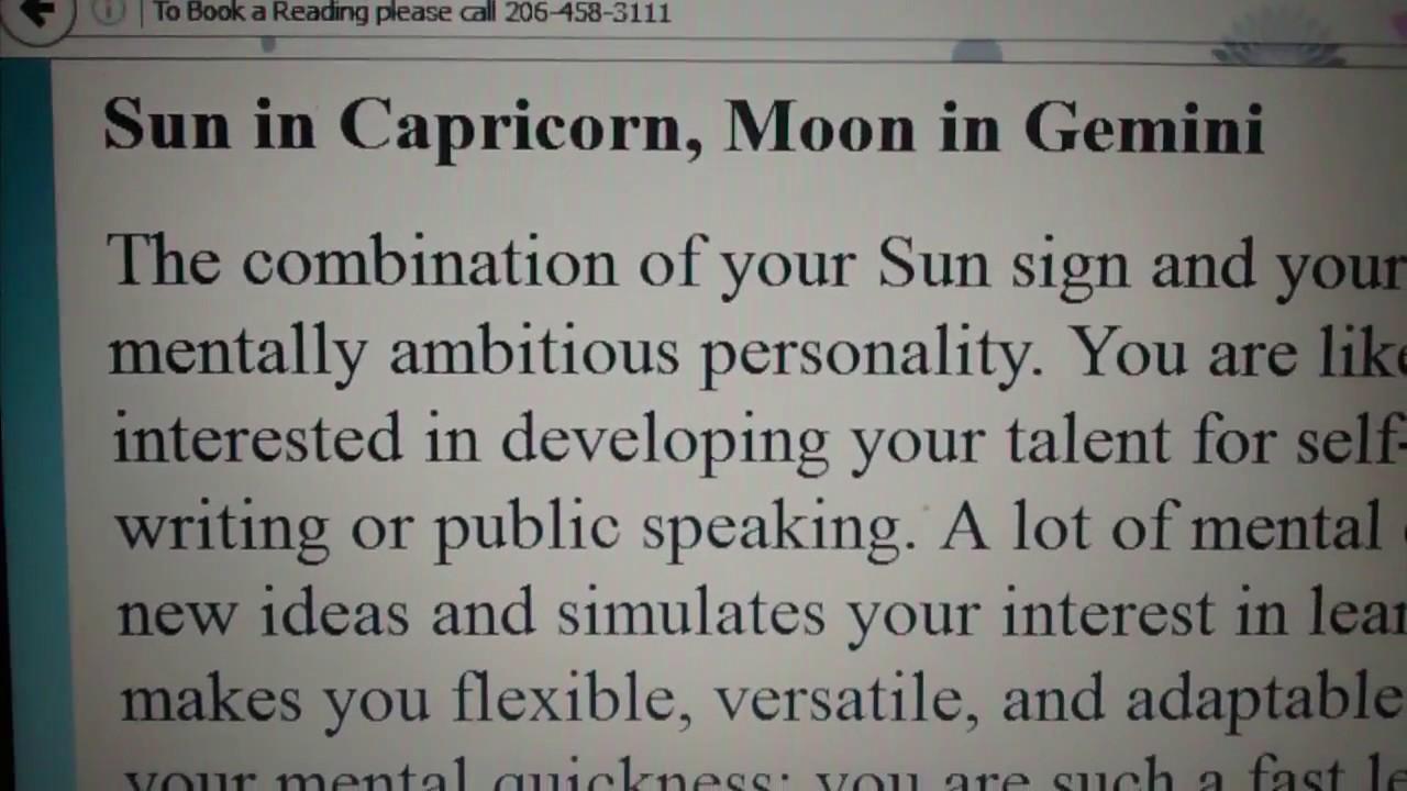 Sun in Capricorn with Moon in Gemini