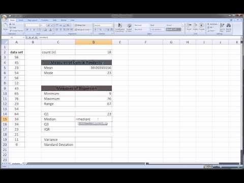 Excel - Basic Descriptive Statistics (Mean, Variance, Standard Devation, etc.)