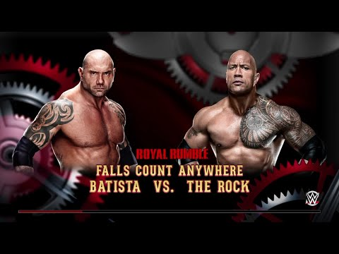 WWE 2K15- Batista vs The Rock Fall Count Anywhere Match 2015 (PS4)
