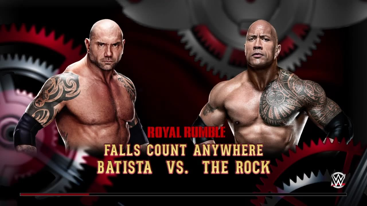 wwe 2k15 batista vs the rock fall count anywhere match