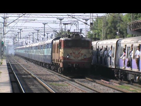 Old warrior ET WAM-4 6P Madhya Pradesh Sampark Kranti accelerates, and thrashes EMU!!