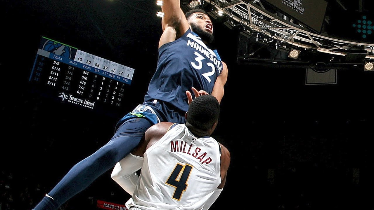 Karl-Anthony Towns POSTERIZES Paul Millsap - Nuggets vs Timberwolves | November 21, 2018