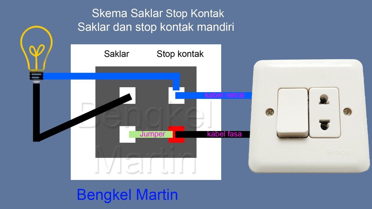 cara pasang stop kontak saklar dual di tembok rangkai kabel