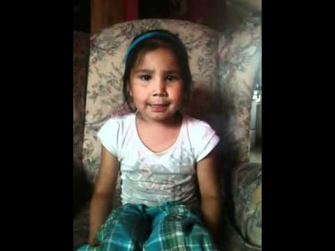 """4 year old Tracey singing in cree """"hello song"""""""