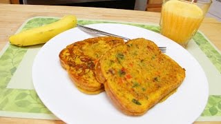 No Eggs Besan Bread Omelette Video Recipe by Bhavna  Instant Besan Toast  Quick Easy Breakfast