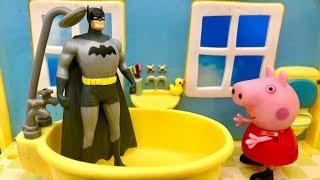 Świnka Peppa i Batman  Mógłbym skorzystac z łazienki  Bajka dla dzieci PO POLSKU