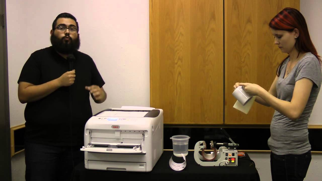 d57cab4a2 OKI C831-TS CMYK LED Printer -- Ceramic Mug Heat Transfers - YouTube